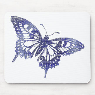 Blue Mosaic Stained Glass Butterfly Mouse Pad