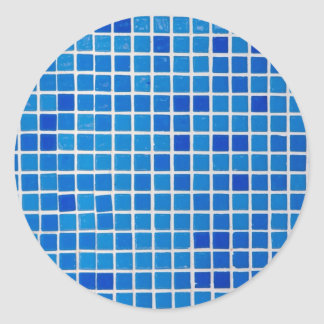 Blue Mosaic Tile Classic Round Sticker