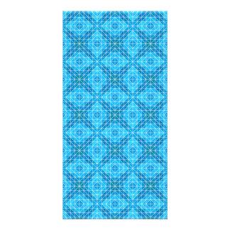 Blue mosaic tiles card