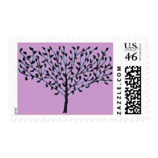 Blue Mosaic Tree Postage Stamp