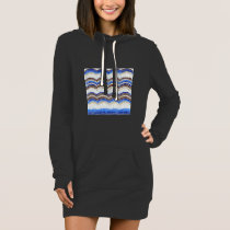 Blue Mosaic Women's Hoodie Dress