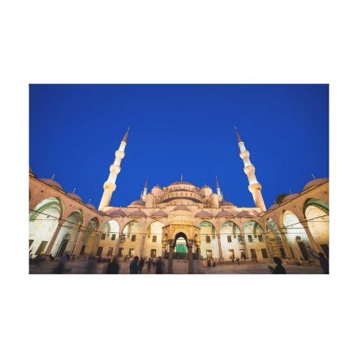 Blue Mosque at Night Gallery Wrapped Canvas
