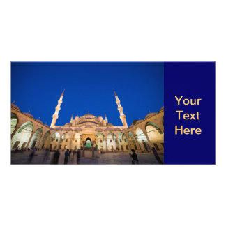 Blue Mosque at Night Customized Photo Card