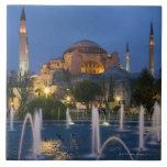 Blue mosque, Istanbul, Turkey Large Square Tile