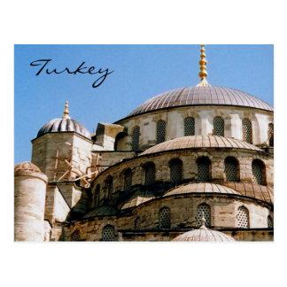 blue mosque roof postcard