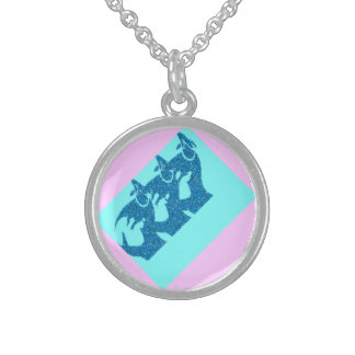 Blue Mother And Baby Image In Sterling Silver. Round Pendant Necklace
