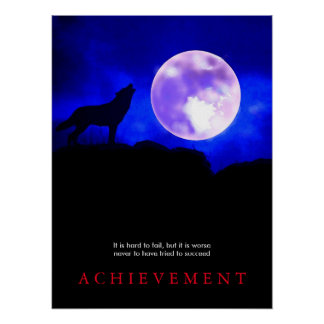 Blue Motivational Howling Wolf at Moon Poster