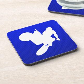 Blue Motocross Whip Beverage Coasters
