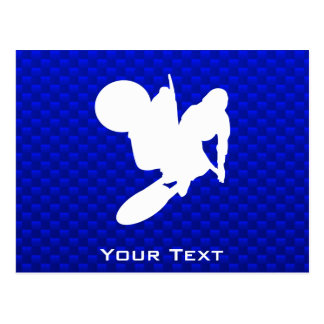 Blue Motocross Whip Postcard