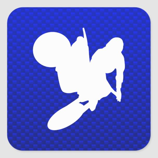 Blue Motocross Whip Square Sticker