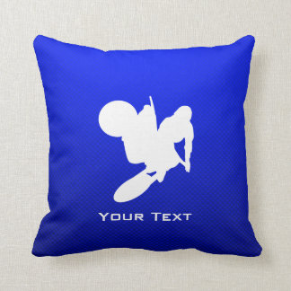 Blue Motocross Whip Throw Pillow
