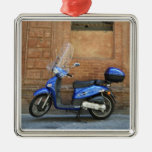 Blue motor scooter by red wall, Siena, Italy Square Metal Christmas Ornament