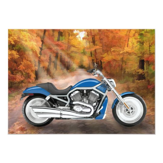 Blue Motorcycle in Autumn Woods Card