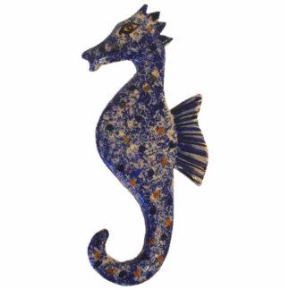 Blue Mottled Seahorse Ornament Photo Cutout