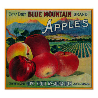 Blue Mountain Apple Crate LabelCove, OR Poster
