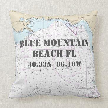 Beach Themed Blue Mountain Beach FL Nautical Chart CUSTOM ORDER Throw Pillow
