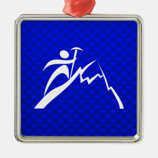 Blue Mountain Climbing Square Metal Christmas Ornament