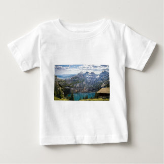 Blue mountain lake  oeschinen pond in nature baby T-Shirt