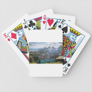 Blue mountain lake  oeschinen pond in nature bicycle playing cards