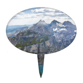 Blue mountain lake  oeschinen pond in nature cake topper
