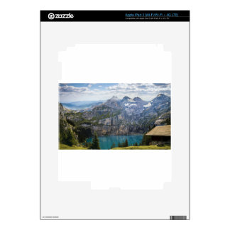 Blue mountain lake  oeschinen pond in nature decals for iPad 3