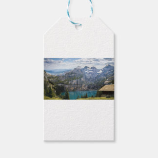 Blue mountain lake  oeschinen pond in nature gift tags