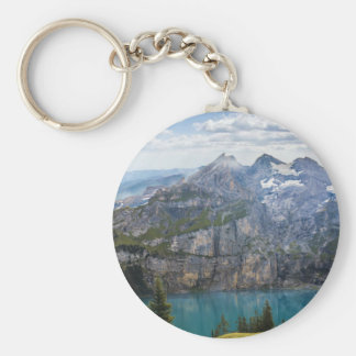Blue mountain lake  oeschinen pond in nature keychain