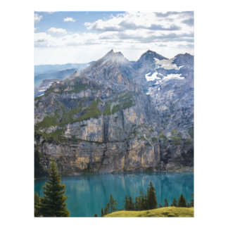 Blue mountain lake  oeschinen pond in nature letterhead