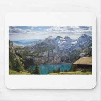 Blue mountain lake  oeschinen pond in nature mouse pad