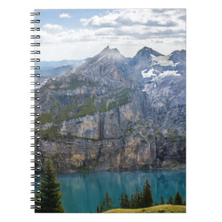 Blue mountain lake  oeschinen pond in nature notebook
