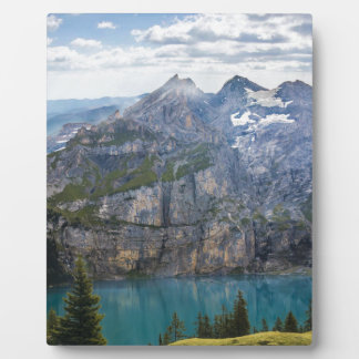 Blue mountain lake  oeschinen pond in nature plaque