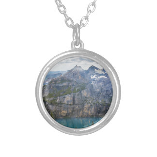 Blue mountain lake  oeschinen pond in nature silver plated necklace