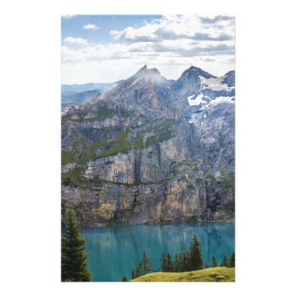 Blue mountain lake  oeschinen pond in nature stationery