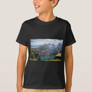 Blue mountain lake  oeschinen pond in nature T-Shirt