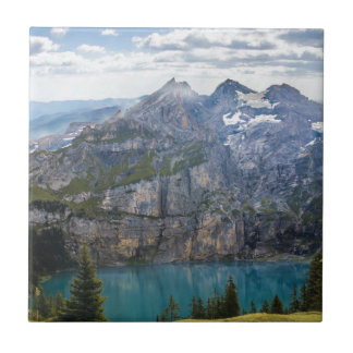 Blue mountain lake  oeschinen pond in nature tile