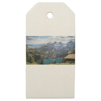 Blue mountain lake  oeschinen pond in nature wooden gift tags