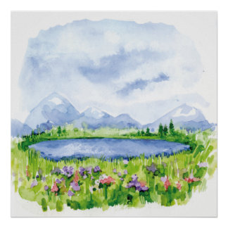 Blue Mountain Lake - Watercolor Art Poster