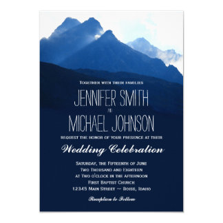 Blue Mountain Range Silhouette Wedding Invitations