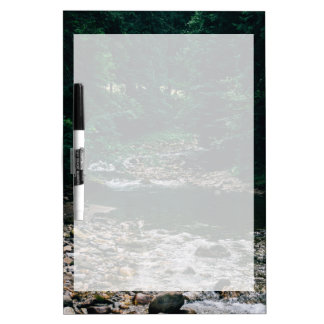 Blue Mountain River With Rocks and Forest Dry-Erase Board