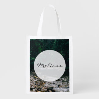 Blue Mountain River With Rocks and Forest Grocery Bag