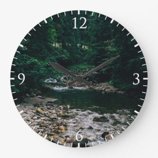 Blue Mountain River With Rocks and Forest Large Clock