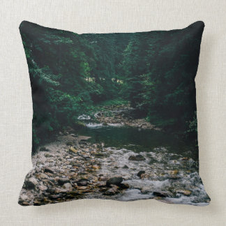 Blue Mountain River With Rocks and Forest Throw Pillow