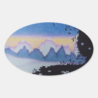 Blue mountain sunset landscape illustration oval sticker