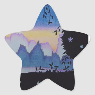 Blue mountain sunset landscape illustration star sticker