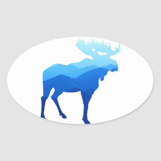 Blue Mountains Moose Silhouette Oval Sticker