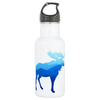 Blue Mountains Moose Silhouette Stainless Steel Water Bottle