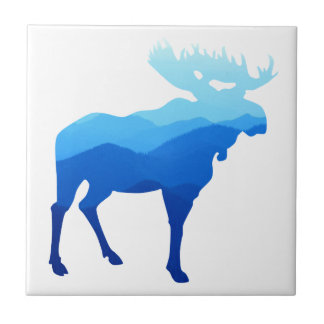 Blue Mountains Moose Silhouette Tile
