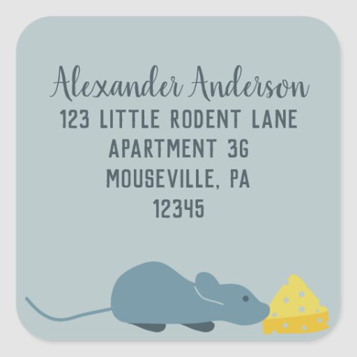 Blue Mouse and Cheese Square Return Address Labels