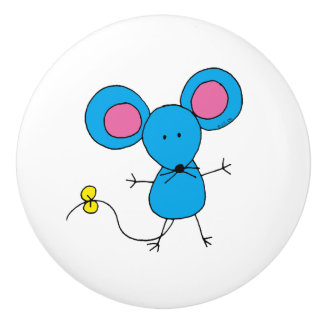 blue mouse ceramic knob