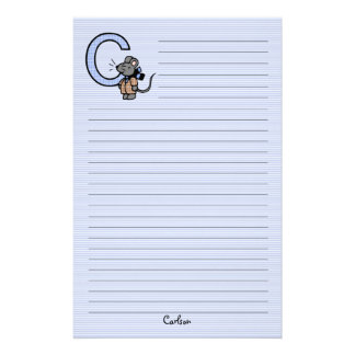 """Blue Mouse Monogrammed """"C"""" Lined Stationery"""